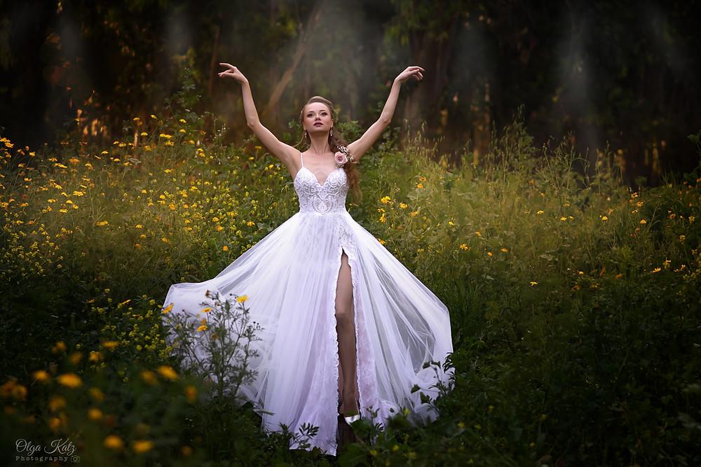שמלת כלה בלרינה עם טול ותחרה