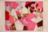 pink collage, monochromatic mixed media, anya salmen, anya carolyn, karo, karo., karocrafts, karo mixed media, karo art