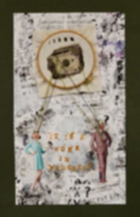 womens rights movement, womens rights movement art, womens rights art, womens rights collage, wage gap collage, collage about the wage gap, anya salmen, anya carolyn, stitched collage, embroidery art, feminist embroidey