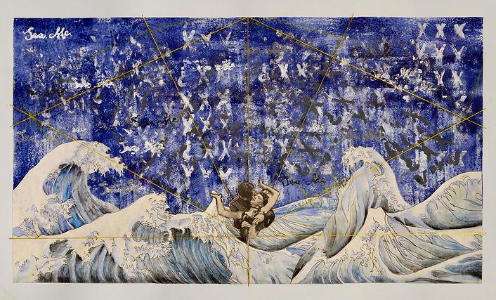 anya salmen, anya carolyn, anya salmen art, the wave, japanese inspired art, mixed media, chalk pastel, mixed media