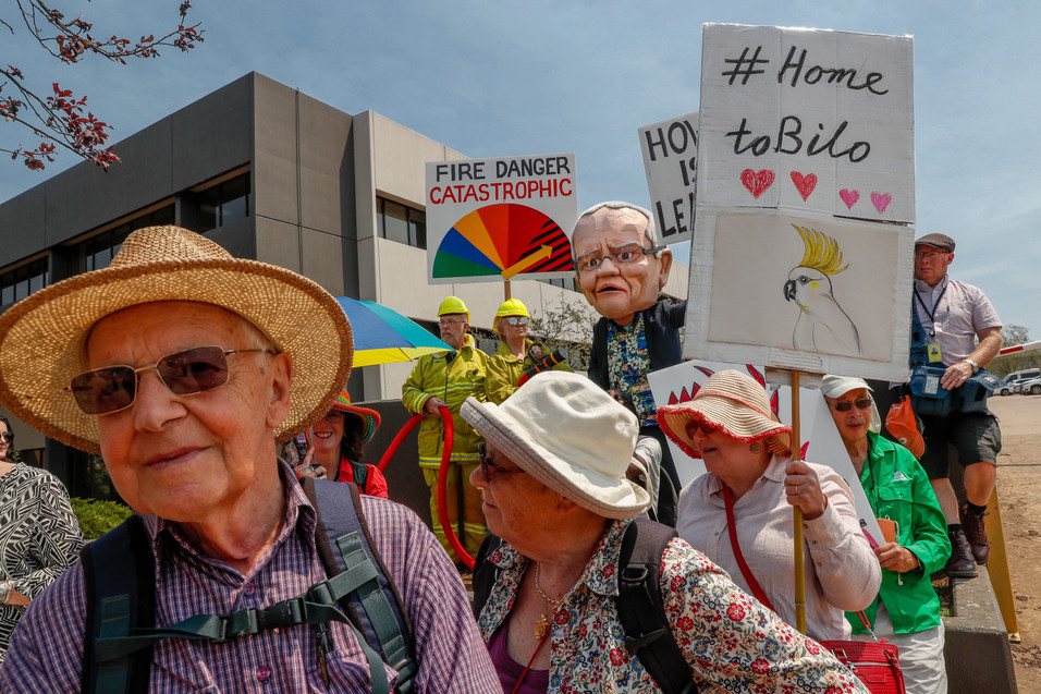 Protesters demanding climate action gather outside the National Press Club before an address by Australian prime minister Scott Morrison on 29 January 2020.