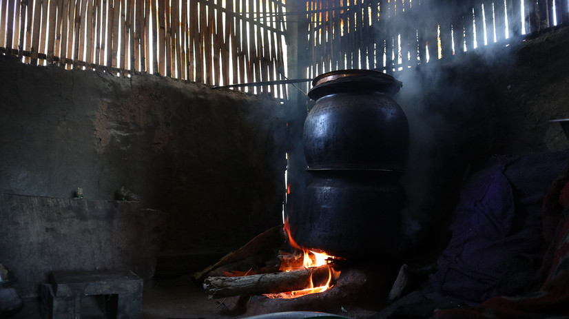 The alcohol brewing starts as early as 4 in the morning so that the women can do other house chores during the day.