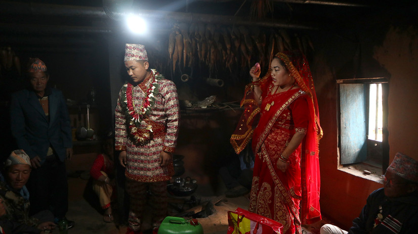 In a Rai wedding, the groom and his family offer alcohol, pork, and other delicacies to the bride's family and relatives. The same alcohol is then used during the ritual of worshipping the ancestors of the bride, in the presence of the groom for the first time.