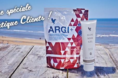 Promotion : 1 Forever Argi+ acheté = 1 Aloe MSM Gel offerte