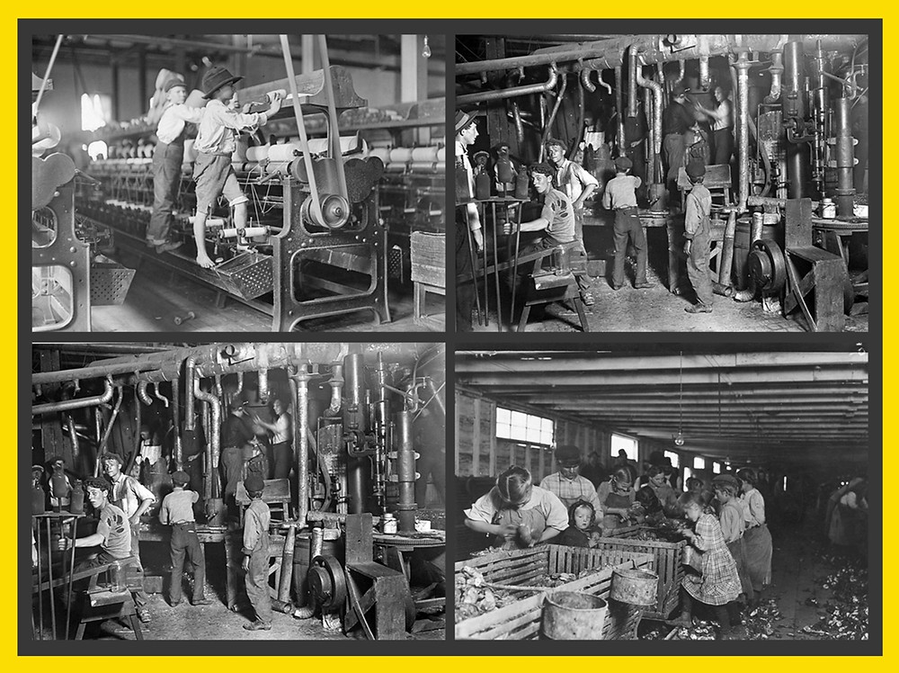 4 black and white photos of factory workers. Photo 1 has 2 children working a loom. Photos 2 and 3 show 6 people wearing torn clothing working on pipes. Photo 4 shows men, women, and children sorting items in large bins.