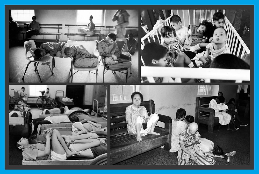 4 black and white photos. Photo 1: Men in an institution wearing overalls and sleeping in chairs. Photo 2: 7 toddlers in a small, white crib in an institution. Photo 3: Multiple people sharing bedframes. There is a person in a wheelchair in the background. Photo 4: A person sitting on a bench and multiple other people on the floor beside them.