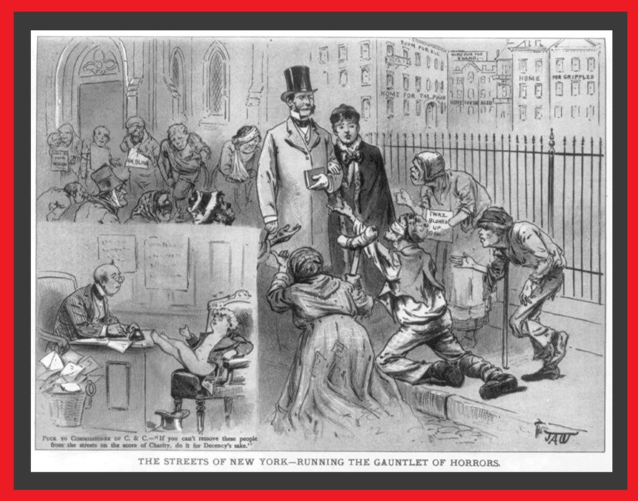 A magazine cartoon showing beggars panhandling businessmen. In the corner is a drawing of a person speaking to the mayor.