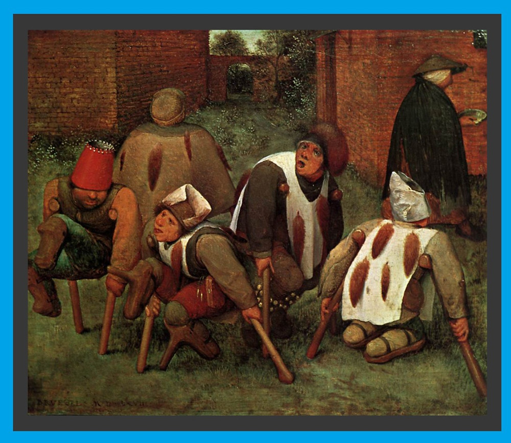 A painting of 5 beggars, all of whom are on the ground with crutches.