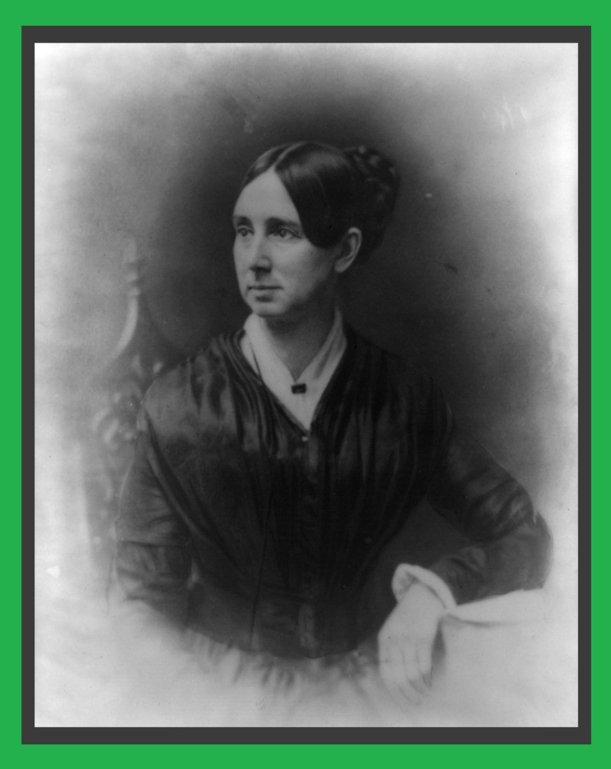 A black and white depiction of Dorothea Dix who is a white woman with black hair in a bun. She is wearing a black blouse with a white undershirt.