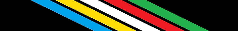 The Disability Pride flag. A black background with blue, yellow, white, red, and green stripes going diagonally at a 135 degree angle.