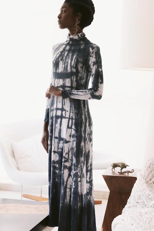Vestido Canelado Gola Alta Tie-Dye