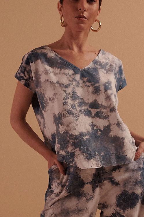 Blusa Algodão Decote V Tie-Dye