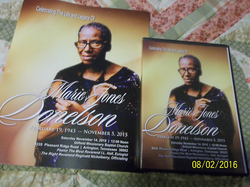 The Bishop's Mother Homegoing Celebration DVD with Worship Schedule