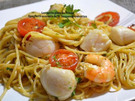 Spaghetti noix de st jacques et crevettes
