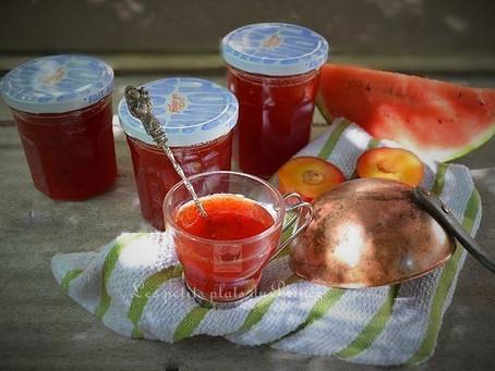 Confiture de prunes rouges et pastèque