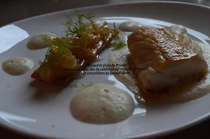 Fenouil en folie : dos de cabillaud sur mousse de fenouil et croustillant au fenouil confit