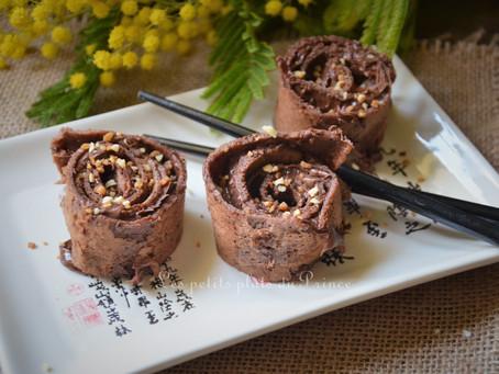 Makis de crêpes au chocolat, sans gluten