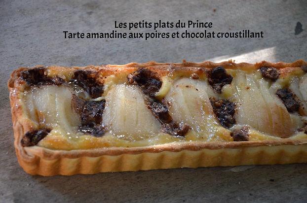 Tarte amandine aux poires et chocolat croustillant