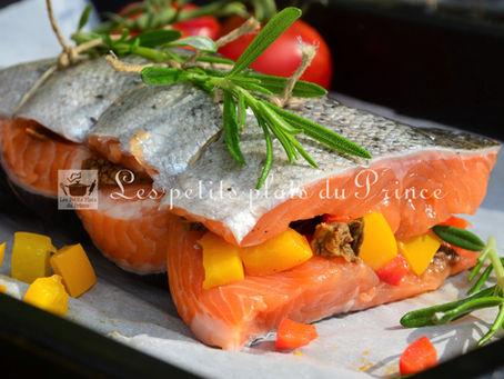 Pavé de truite, ou de saumon, farci aux 2 poivrons