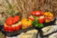 Tomates farcies à la brandade de morue et pesto basilic