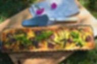 Tarte aux courgettes, asperges vertes, noix