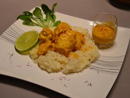 Curry de lotte, lait de coco, safran et citron vert