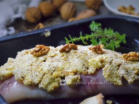 Lotte en croûte de noix et cèpes