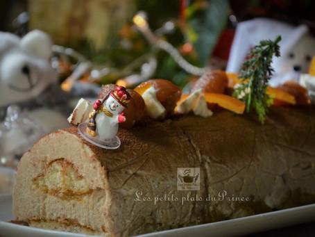 Bûche de Noël simplissime à la crème de marron et orangettes