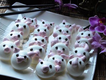 Meringues cochons pour Nouvel An chinois