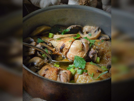 Cuisses de poulet aux champignons de Paris façon Grand-mère