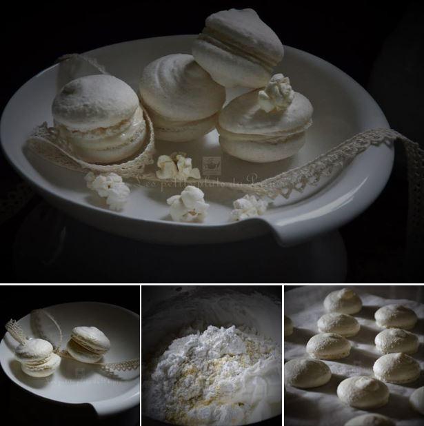 Macarons au pop corn, monochromie blanche