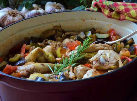 Poulet en sauce aux légumes d'été façon Grand-mère
