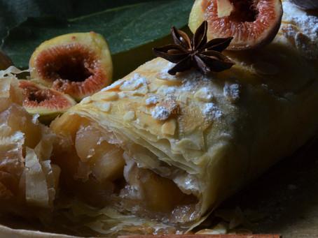 Strudel aux figues et aux pommes et floc de Gascogne