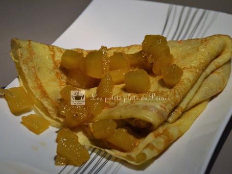 Crêpes exotiques à l'ananas confit au rhum ambré