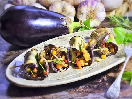 Roulés d'aubergine végétariennes