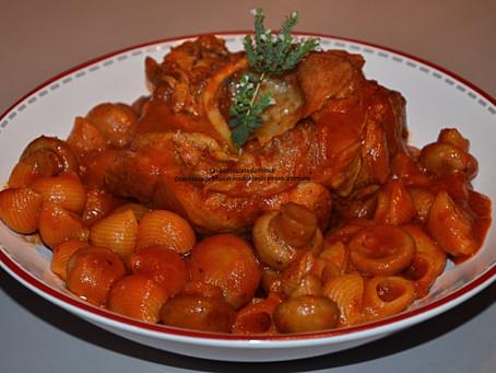 Osso bucco de veau et coudes rayés à la tomate