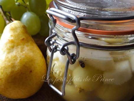 Conserve salade de fruits poire et raisin au sirop