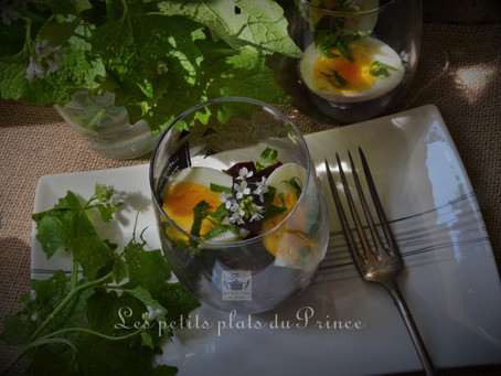 Salade de betteraves à l'alliaire du jardin