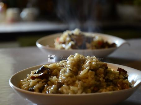 Risotto aux champignons et au bouillon de poule