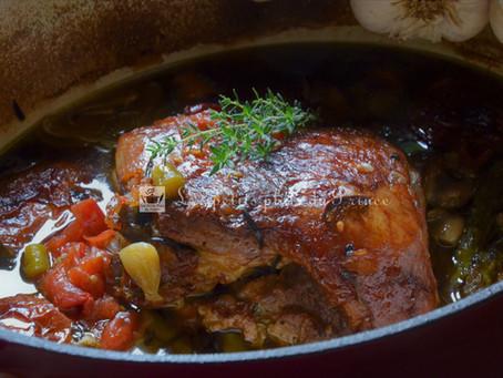 Gigot d'agneau confit au four pendant 7 heures