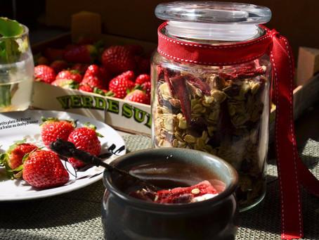 Muesli à la fraise, au deshydrateur