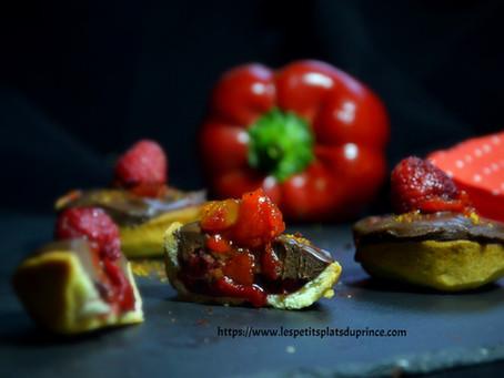 Mignardise chocolat framboise poivron rouge