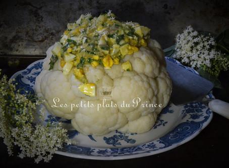 Chou fleur mimosa a la vinaigrette aux fleurs de sureau