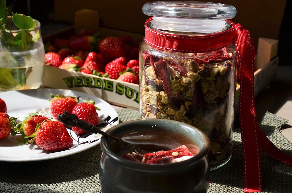 Muesli à la fraise au deshydrateur
