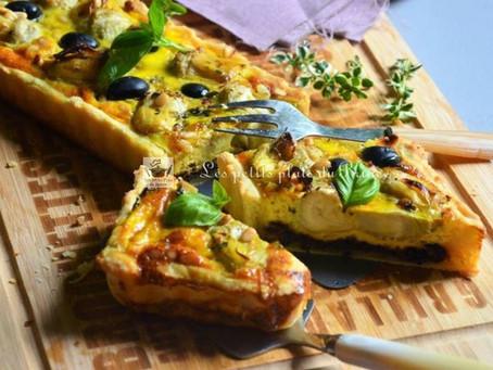 Tarte salée aux cœurs d'artichauts sur tapenade d'olives noires