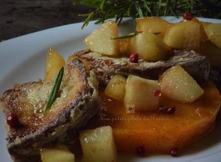 Foie gras poêlé sur butternut rôti et poire caramélisée