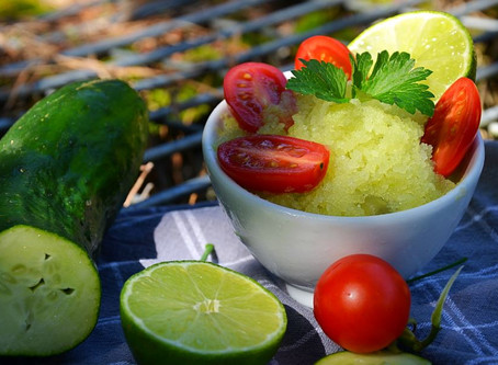 Granité concombre, vodka et citron vert
