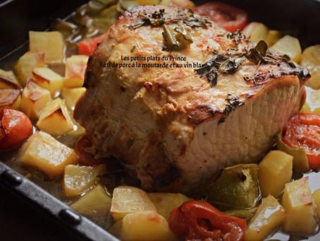 Rôti de porc à la moutarde, et au vin blanc