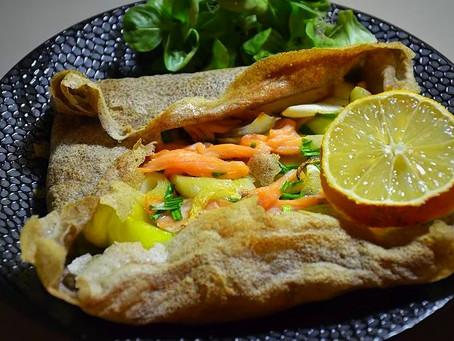 Galette ou crêpe nordique au saumon