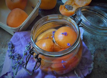 Abricots au sirop de lavande, en conserve